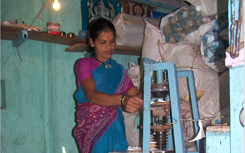 woman working with machine